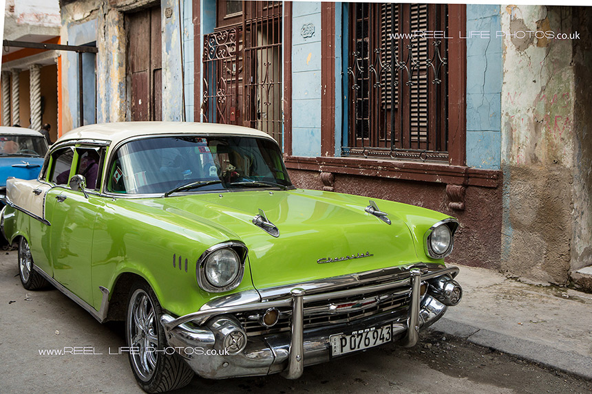 Lime green car in Old Havana,  Cuba
