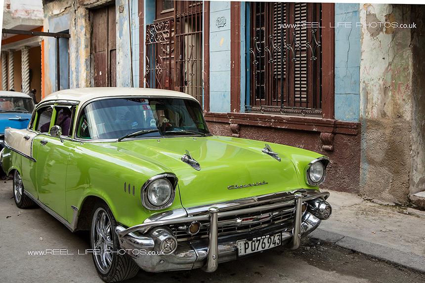 Lime green car in Old Havana,  Cuba
