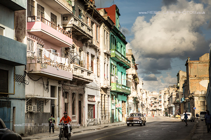 Dramatic photo of street in Havana in the winter.