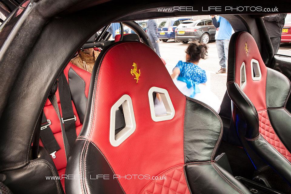 Inside a stretched Ferrari at Bengali wedding