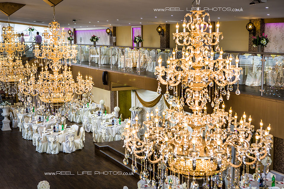 Asian wedding photography in Dewsbury - picture of chandeliers at the venue