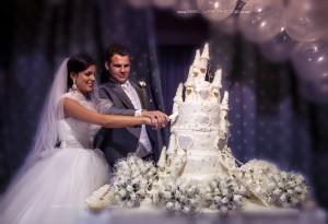 Cutting the castle wedding cake