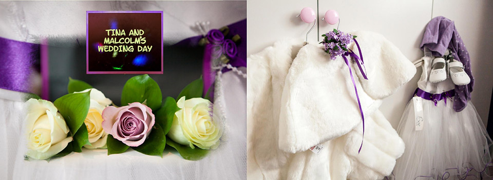wedding photos designed in an Italian storybook with pictures from the wedding in Dewsbury