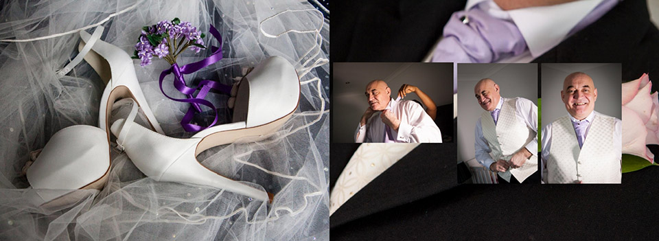 Italian storybook with wedding shoes and baby bridesmaid's flowers and pictures of the groom is getting ready before the wedding in Dewsbury