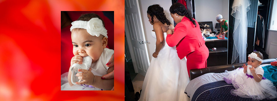 storybook wedding pictures of bride putting on her wedding dress and the baby chewing her white wedding shoes