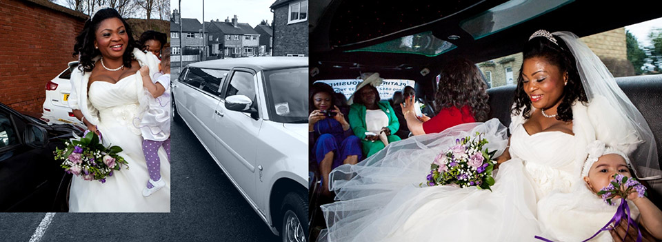 wedding storybook design as the bride rushes into the limo to travel to Dewsbury Town Hall