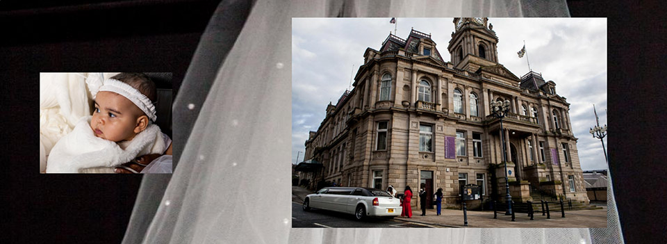 Wedding at Dewsbury Town Hall - storybook album design