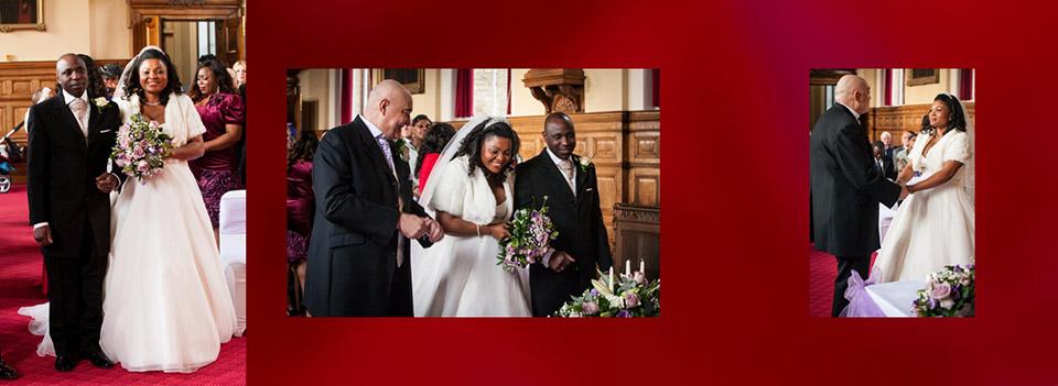 Bride walking down the aisle at Dewsbury Town Hall in wedding storybook
