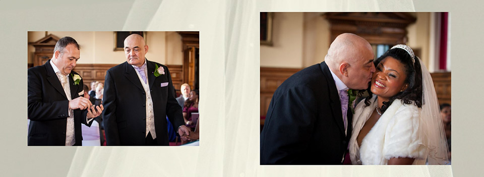 wedding rings and kiss at Dewsbury wedding in the storybook photo album