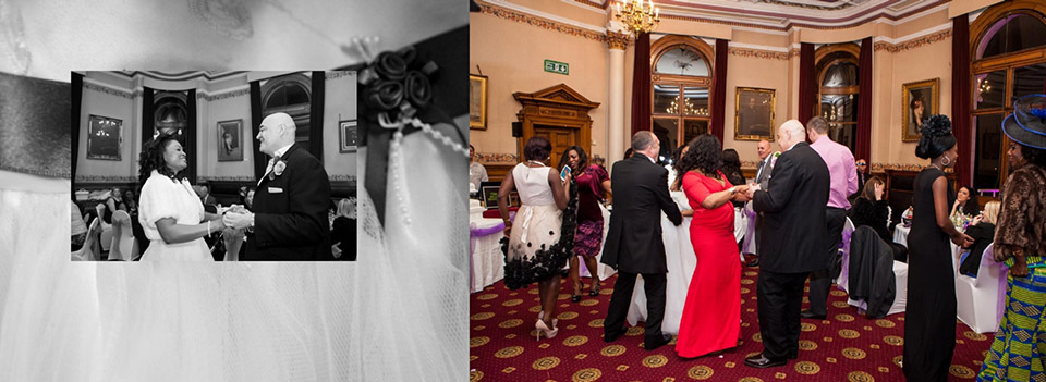 Fun wedding photography in Dewsbury during the evening wedding reception dancing.