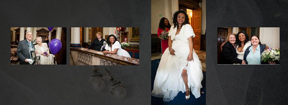 last page of Graphistudio wedding book storybook album as the bride shows off her garter