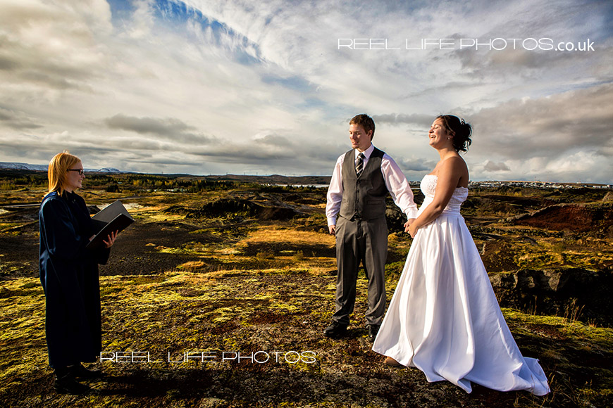 Unusual wedding pictures on a mountain in Iceland