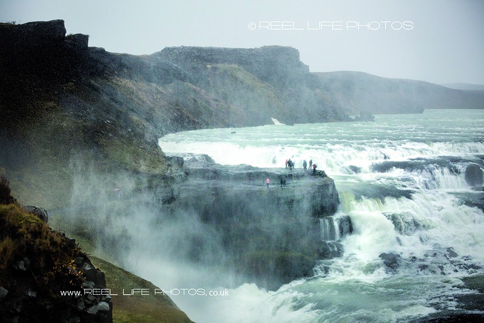 Iceland on a rainy October day at Selfoss waterfall.