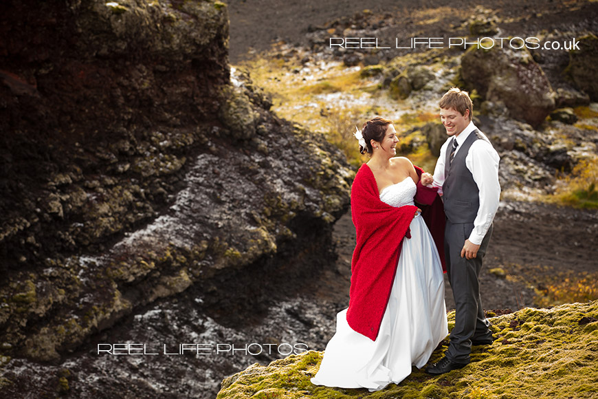 Icelandic wedding ceremonyas the bride and groom share a quiet moment