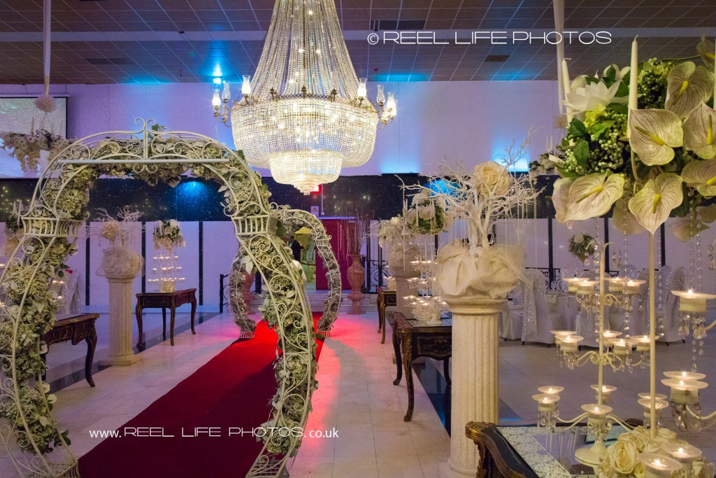Bolton Excellency wedding reception with its grand chandeliers