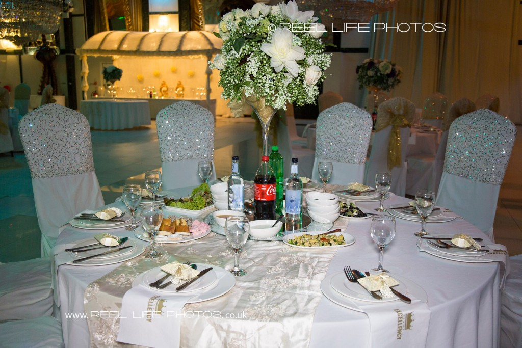 Beautiful table layout at wedding reception in Bolton Excellency