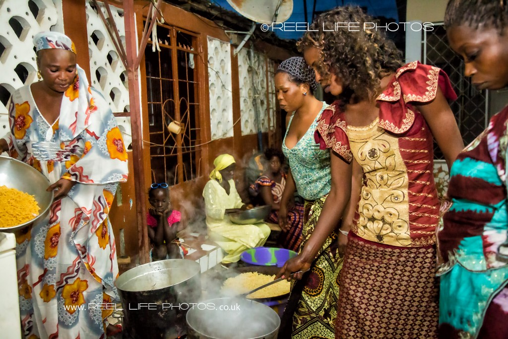 Gambian women cooking