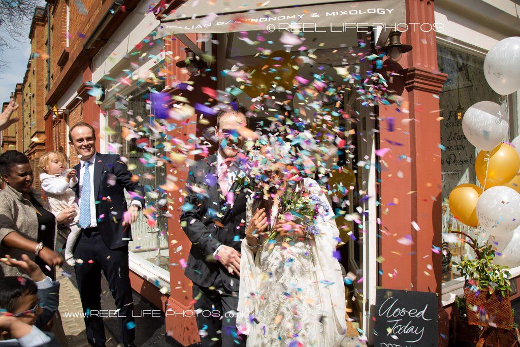 wedding confetti in London by Yorkshire wedding photographer