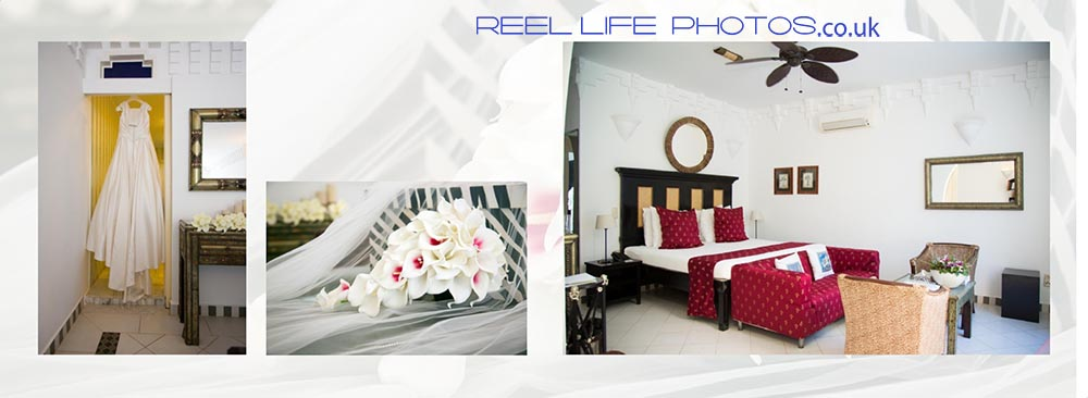 Bedroom at the Royal Suite at Coco Ocean Hotel and Spa in the Gambia, West Africa and the bride's bouquet of lilies