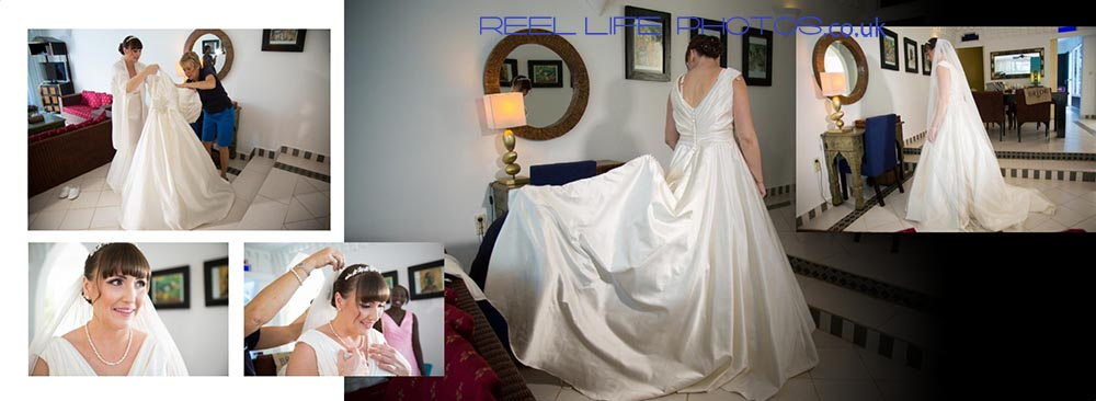 Natural wedding photos of the bride getting ready inside the Royal Suite at Coco Ocean