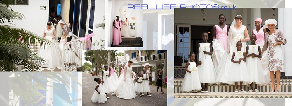 Coco-Ocean-wedding pictures in the-Gambia, as the bride and bridesmaids leave the Royal Suite