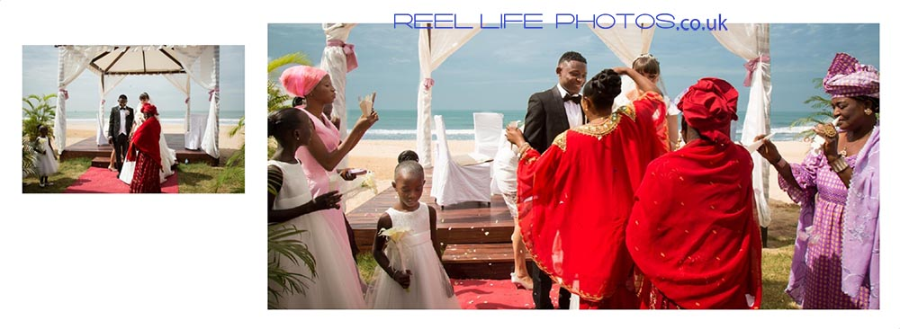 Gambian family showers the newly weds with confetti at Coco Ocean.