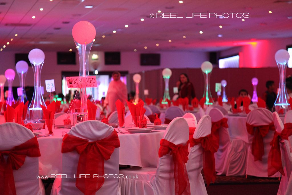Crown Banqueting Birmingham interior set up for Asian wedding before the photographer arrives