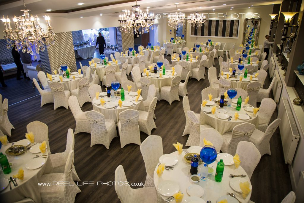 Pictures of Asian wedding venue banqueting hall in West Yorkshire - the men's side