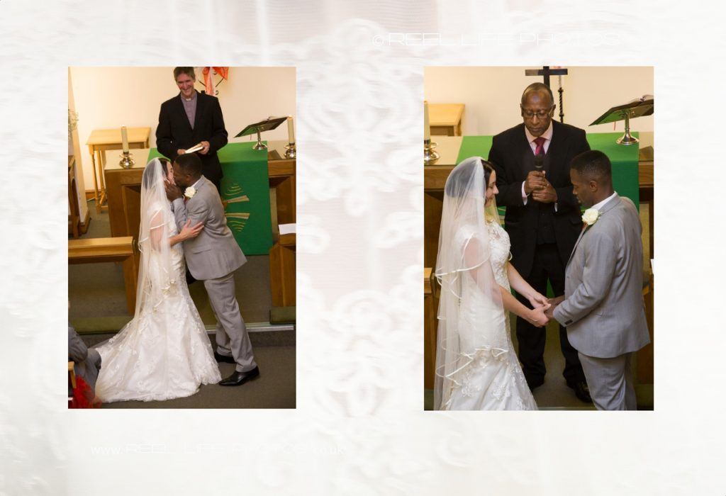 The kiss and extra blessing pics in storybook wedding album.