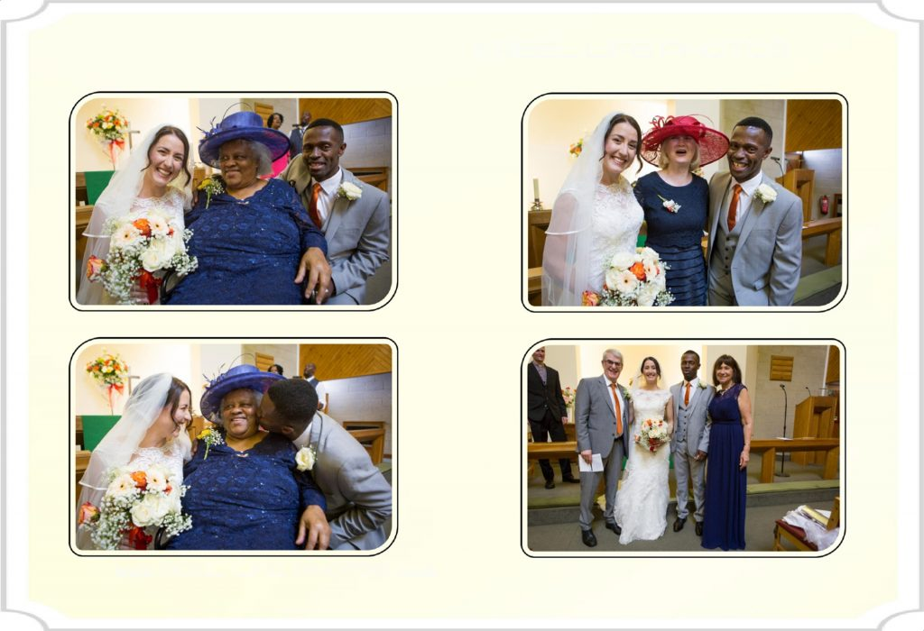 Church wedding pictures in storybook album
