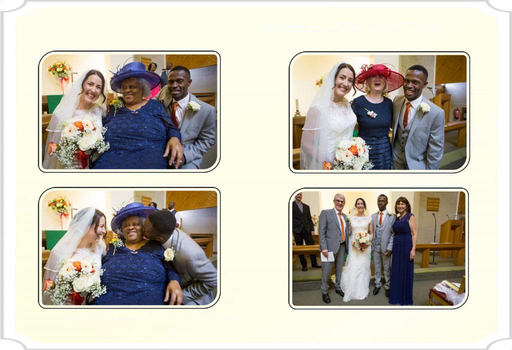Church wedding pictures in storybook album