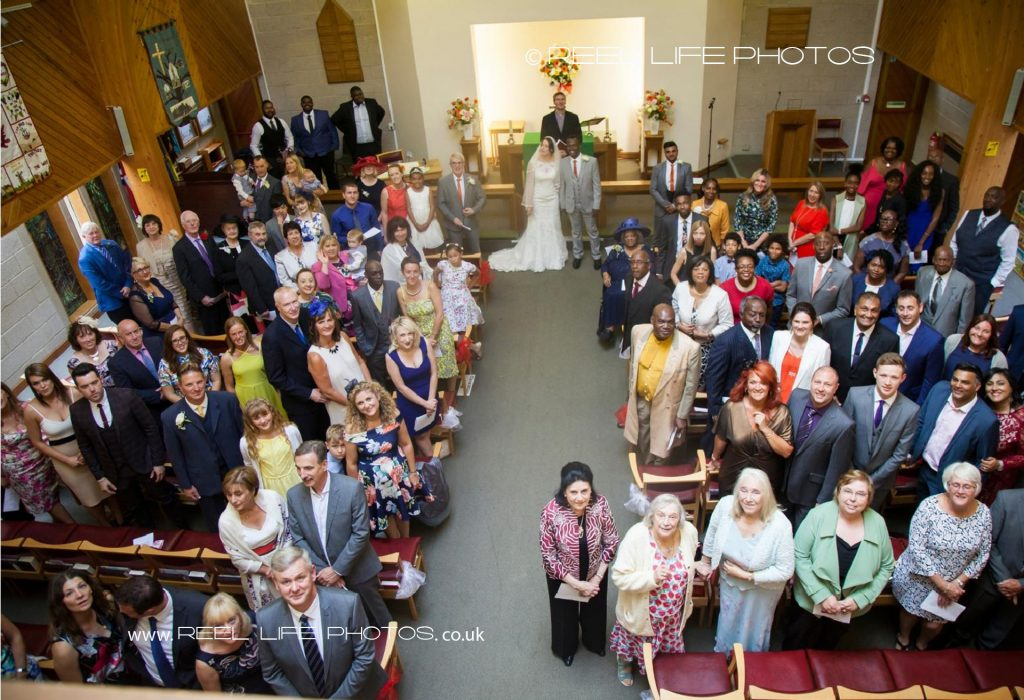 Churtch wedding picture inside Oakwood Church in Leeds