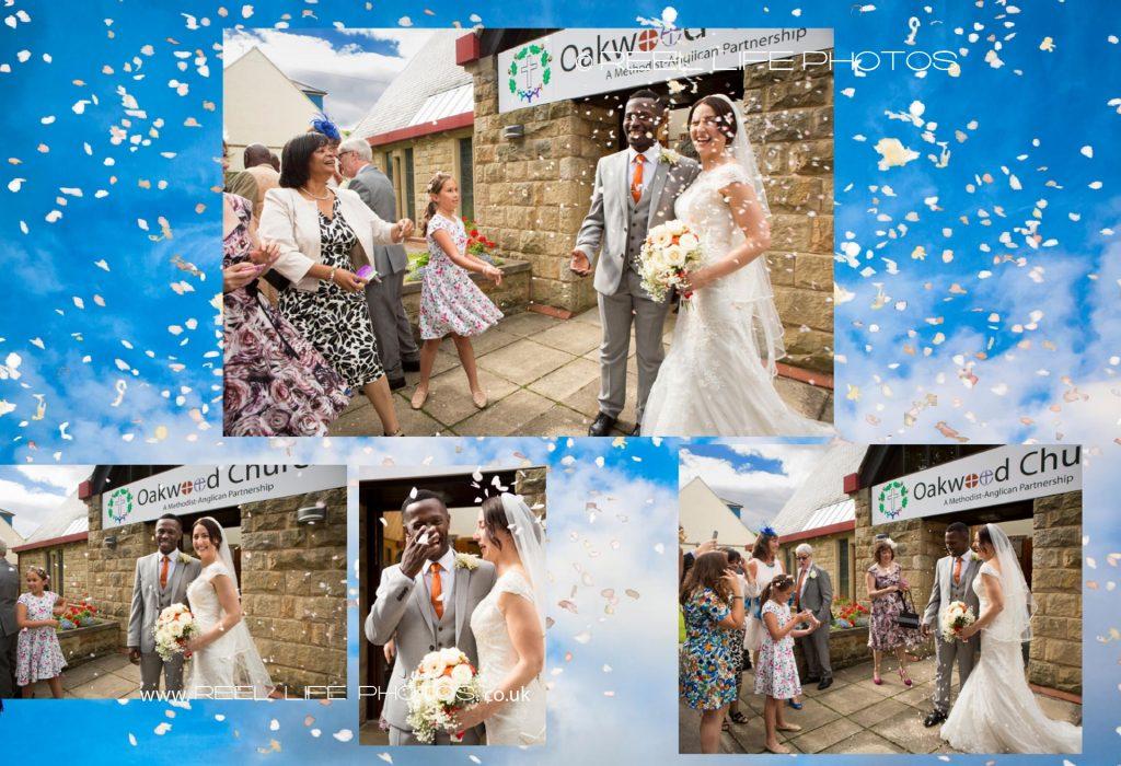 Confetti magic in storynook wedding album