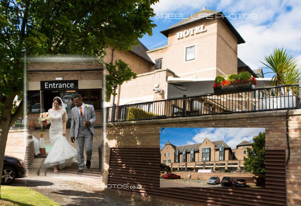 Fun bride and groom at their wedding reception in The Village Hotel Leeds South