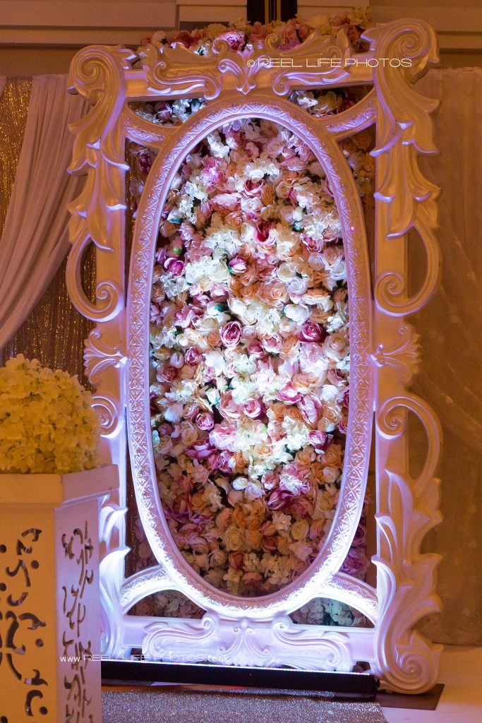 Asian or Arabic wedding stage with flower panels