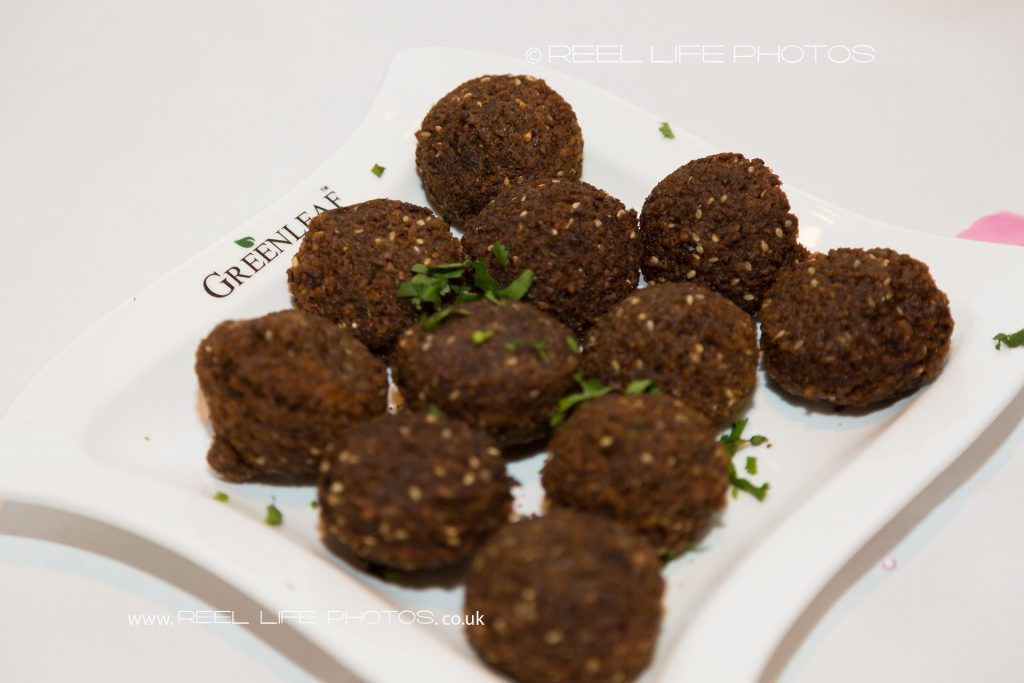 Falafel starter at Asian Arabic wedding in London