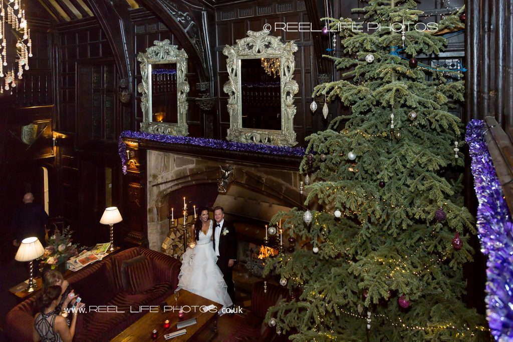 wedding photos in the Great Hall at Mitton Hall