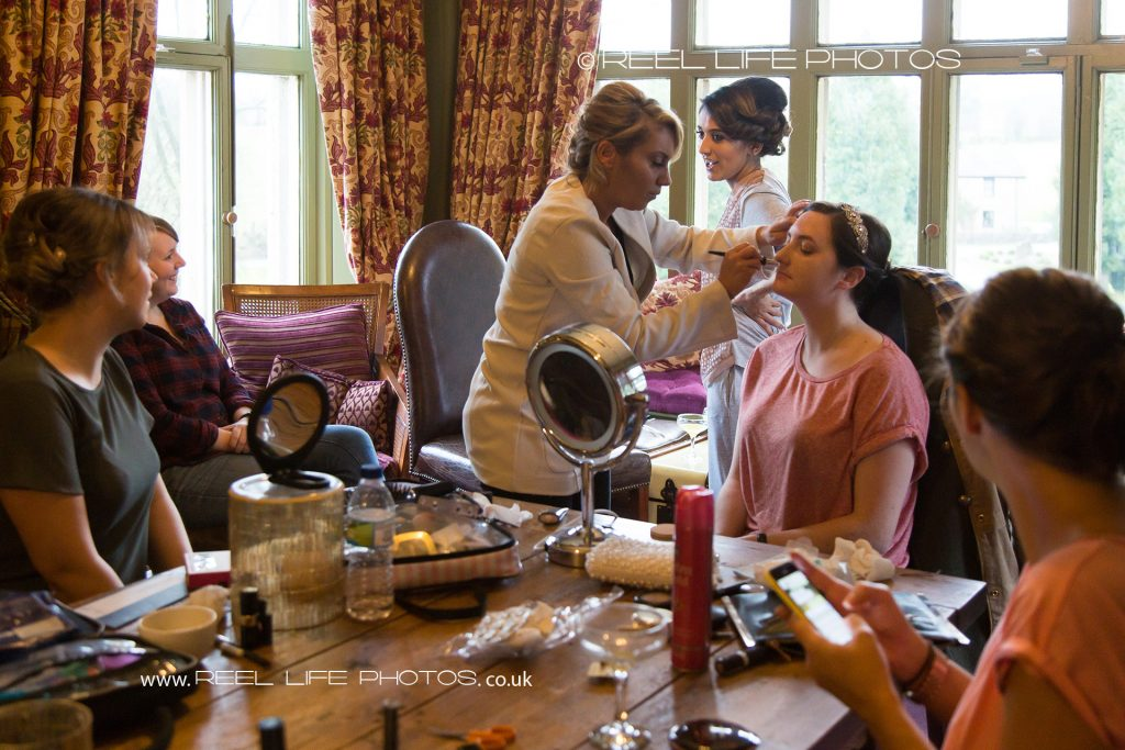 wedding prep at Mitton Hall