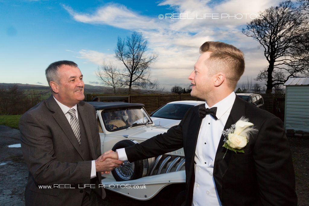 Wedding car driver arrives for Great Gatsby wedding