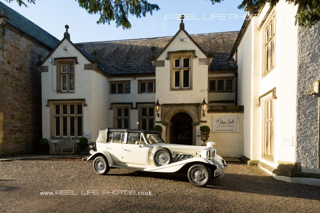 Wedding car outside Mitton Hall