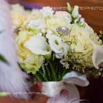 wedding bouquet in church