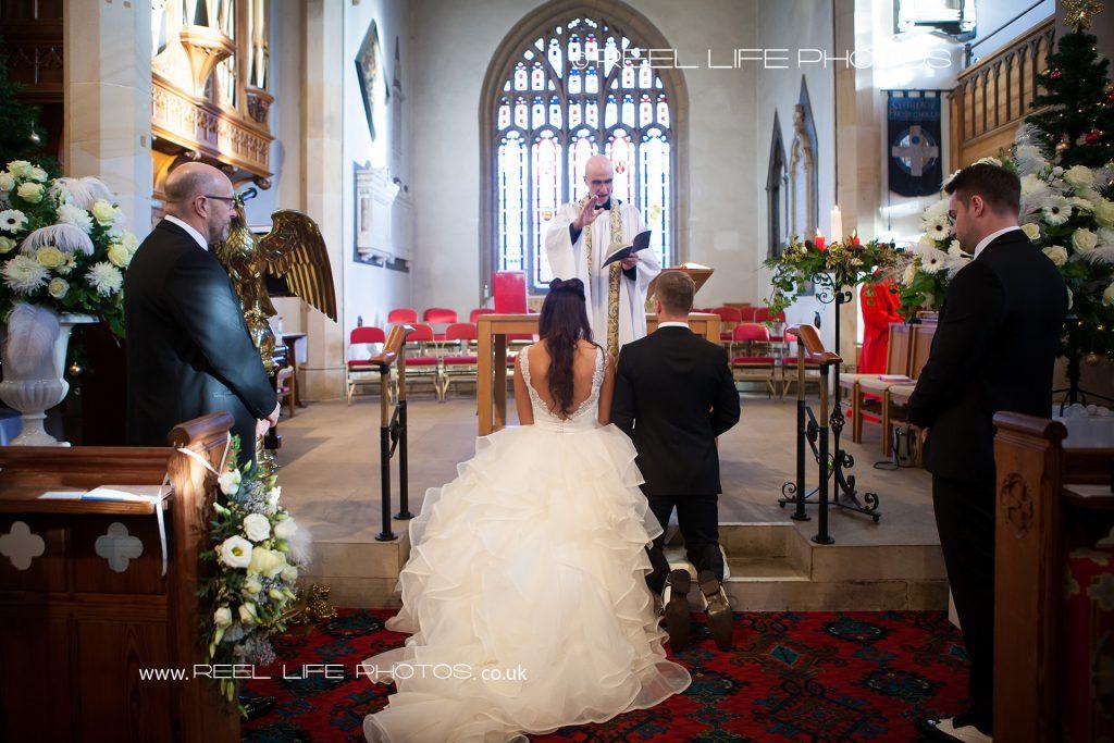 Back of bride's dress in church