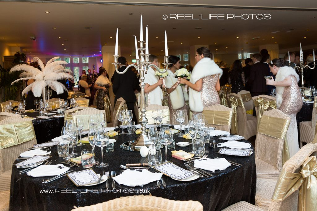 Great Gatsby wedding reception pictures at Mitton Hall