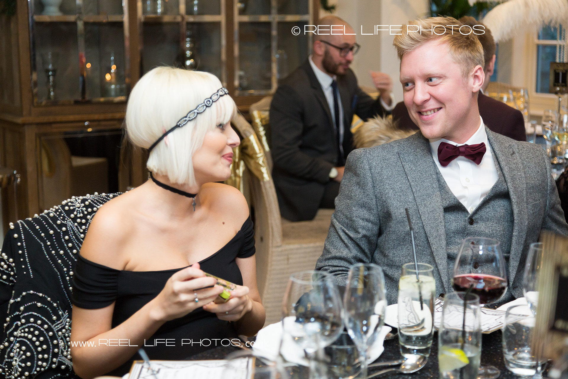 Wedding guests at Great Gatsby wedding reception
