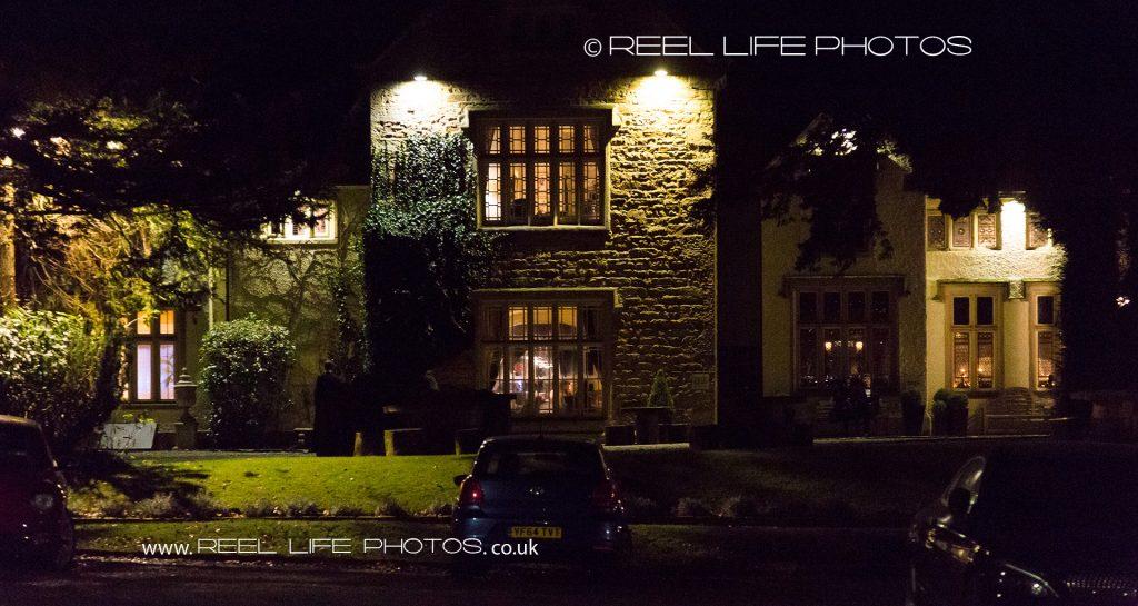 Mitton Hall at night