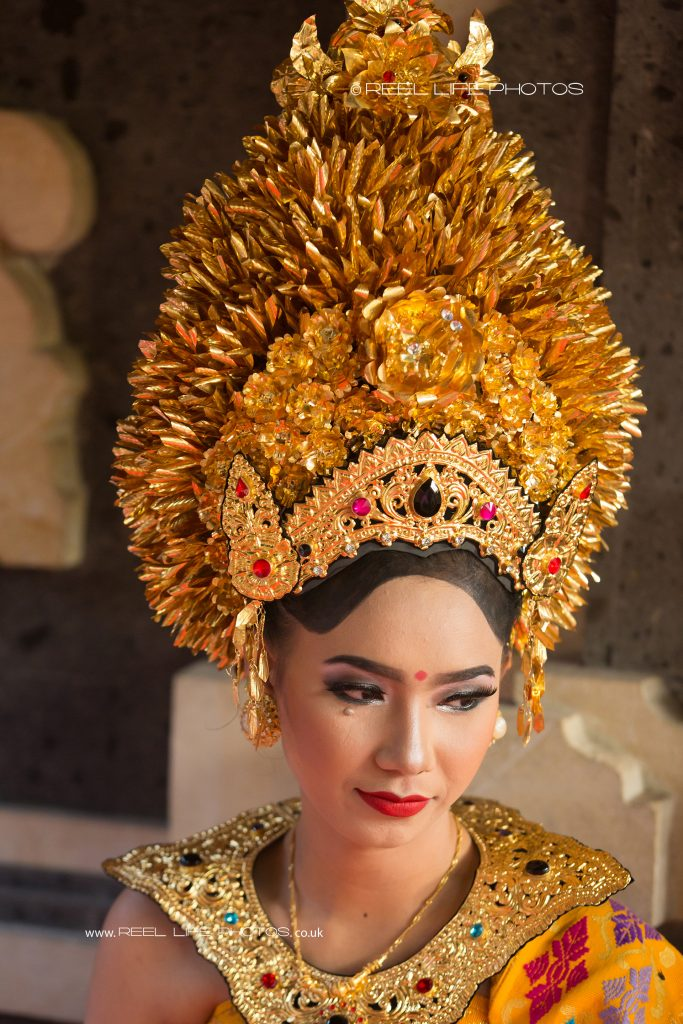Gold headdress on Balinese bride