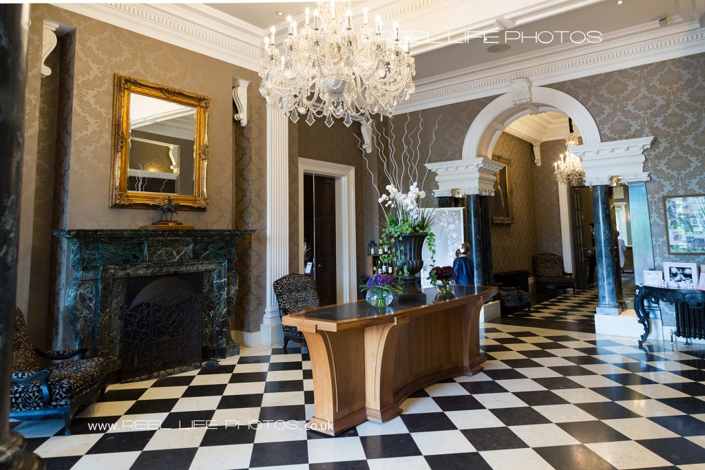 Oulton Hall reception with black and white tiled floor