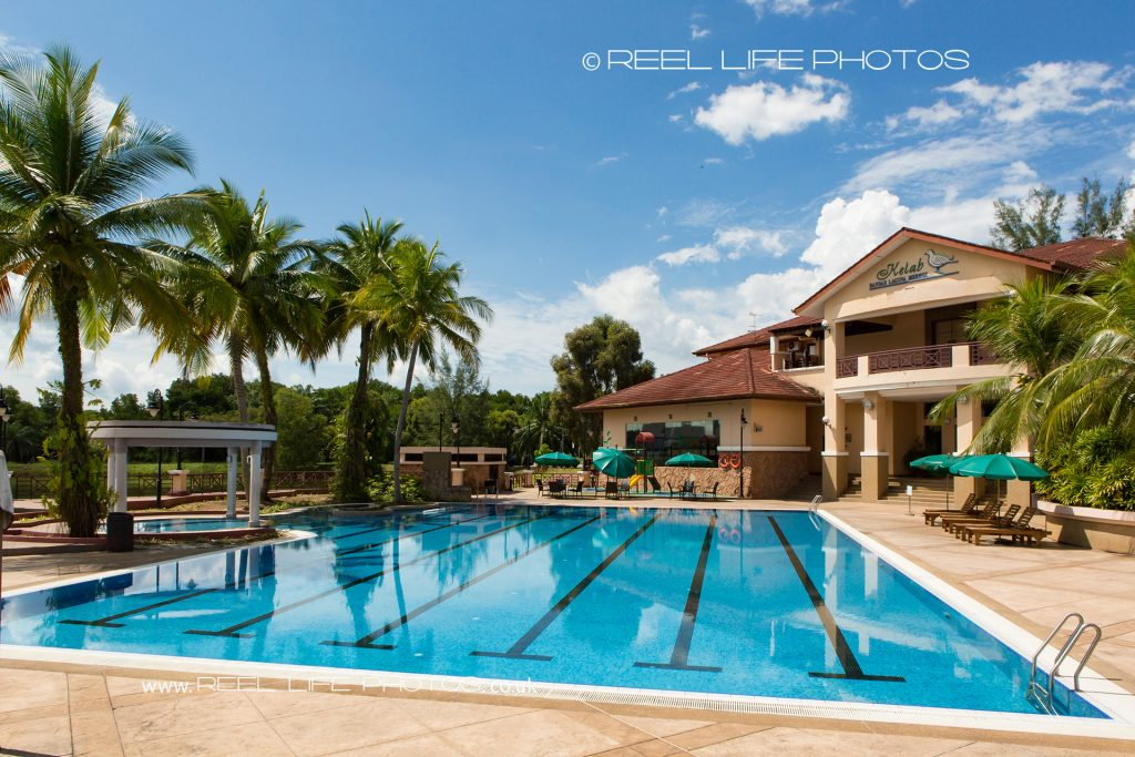 Beautiful pool at wedding venue at Kelab Bandar Laguna Merbok in Sungai Petani, Malaysia,