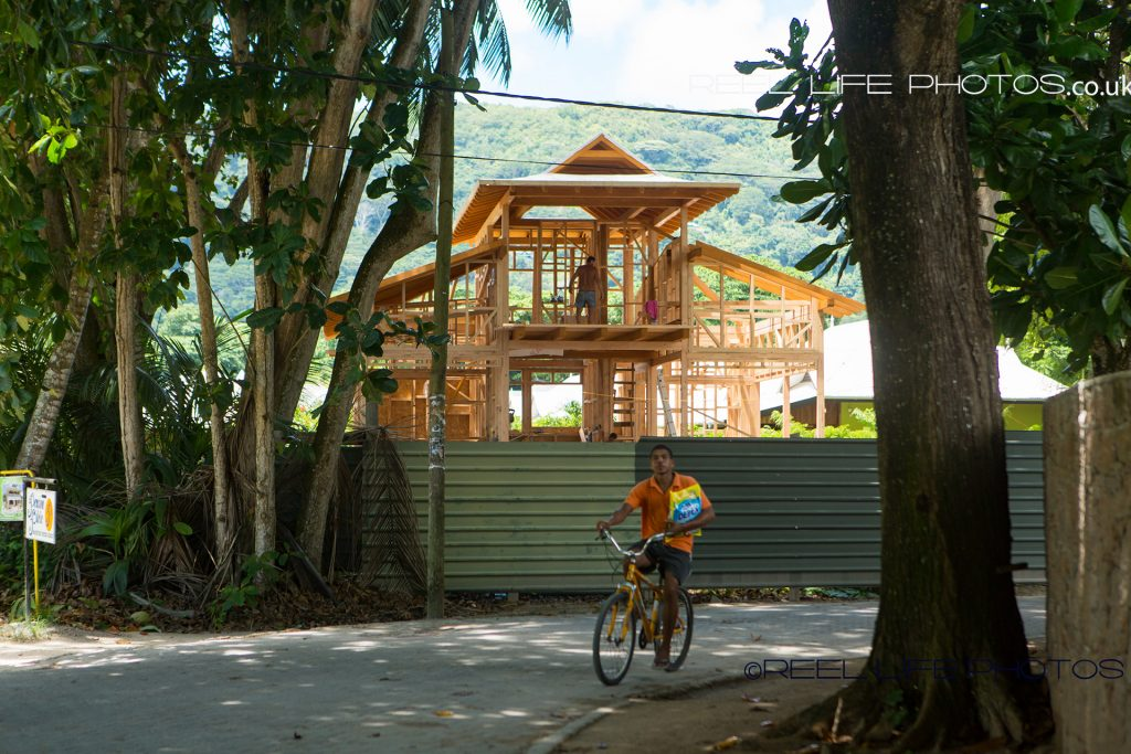 Interesting wooden house structure on La Digue in the Seychelles