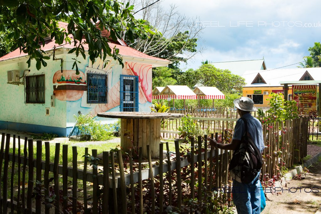 Cute painted house on La Digue, island in the Seychelles